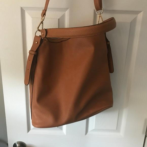 H M Bags   Hm Cognac Faux Leather Crossbody Tote Bag   Poshmark f2cad60235